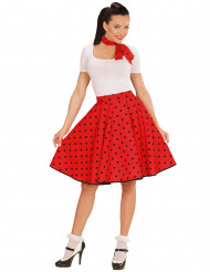 Rode jaren 50 sjaal en rok voor vrouwen