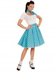 Turquoise jaren 50 rok en sjaal voor vrouwen