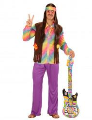 Veelkleurig pastel hippie kostuum voor mannen