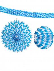 3 blauwe en witte Bierfeest decoraties