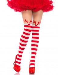 Rood met wit gestreepte rendier legging voor vrouwen