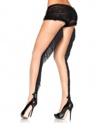 Luxe huidkleur legging met zwarte cabaret franjes voor vrouwen
