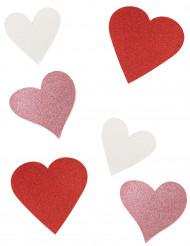 6 hartjes versieringen met pailletten