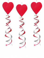 3 rode harten spiraal decoratie