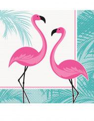16 roze flamingo servetten