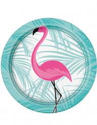 8 kleine roze flamingo borden