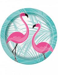 8 kartonnen Flamingo borden 22 cm