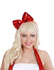 Grote rode haarstrik op haarband voor volwassenen