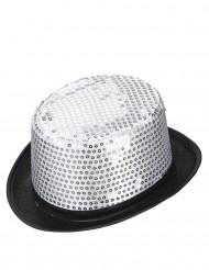 Zilverkleurige hoge hoed met pailletten voor volwassenen