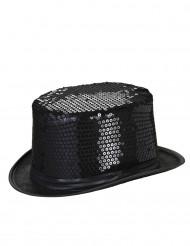 Zwarte hoge hoed met lovertjes voor volwassenen