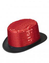 Rode lovertjes hoge hoed voor volwassenen