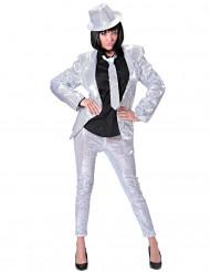 Zilverkleurige legging met lovertjes voor volwassenen