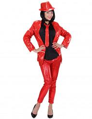 Rode glitter legging voor dames