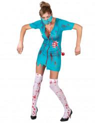 Blauw zombie verpleegster kostuum