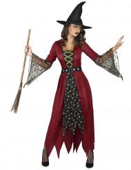 Rood en goudkleurig heksenkostuum voor vrouwen