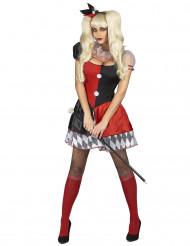 Rood en zwart harlekijn joker kostuum voor vrouwen