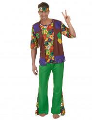 Kleurrijk Flower Power hippiekostuum voor mannen