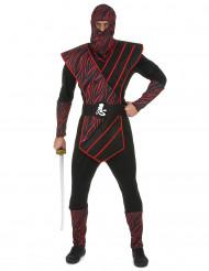 Zwart ninja kostuum met rode print voor mannen