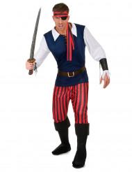 Rood en zwart gestreept piratenkostuum voor mannen