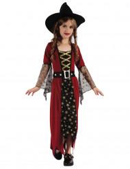 Goudkleurig en rood heksenkostuum voor meisjes