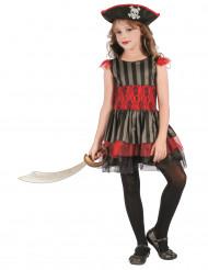 Zwart en rood piraten kostuum voor meisjes