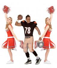 Footballer en cheerleader groepskostuum voor volwassenen