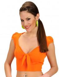 Sexy oranje top met strik voor vrouwen