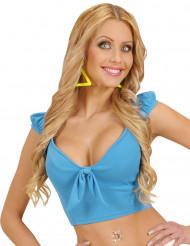 Turkooisblauwe top met strik voor vrouwen