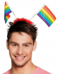 Veelgekleurde vlaggetjes op haarband