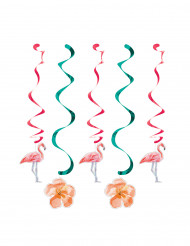 5 Flamingo spiralen decoraties