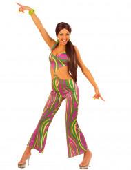 Veelkleurig jaren 70 kostuum voor vrouwen