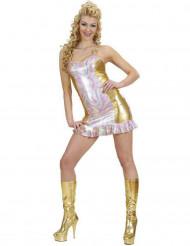 Goudkleurig en veelkleurig disco kostuum voor vrouwen