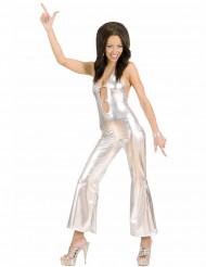 Sexy zilverkleurig discokostuum voor vrouwen