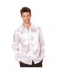 Witte satijnachtige blouse voor mannen