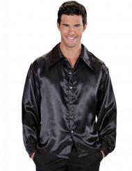 Zwart satijnachtig overhemd voor heren