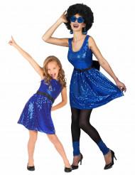 Blauw disco koppelkostuum voor moeder en dochter