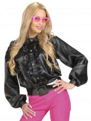 Zwarte blouse met franjes voor vrouwen