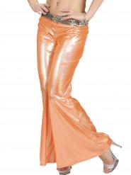 Oranje glitter disco broek voor vrouwen