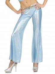 Blauwe glitter disco broek voor vrouwen