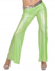 Groene glitter disco broek voor vrouwen
