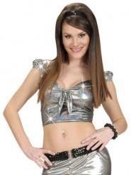 Sexy zilverkleurige top met strik voor vrouwen