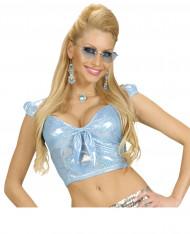 Blauwe glitter top met sexy strik voor vrouwen