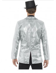 Luxe zilverkleurig lovertjes disco jasje voor mannen