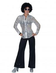 Zilverkleurige disco blouse met lovertjes voor vrouwen
