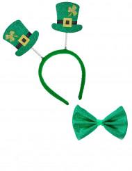 Saint Patrick haarband en strik voor volwassenen