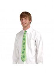 Groene stropdas met klavers voor volwassenen