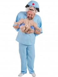 Baby gedragen door dokter kostuum voor volwassenen
