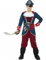 Blauw en rood piraten kapitein kostuum voor jongens