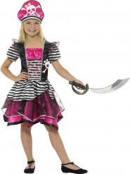Roze en zwart-wit gestreept piraten kostuum voor meisjes