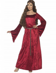 Rode Middeleeuwse koningin kostuum voor vrouwen